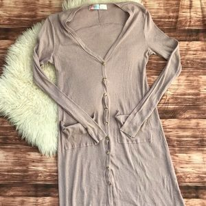 Free People Beach Ribbed Up Duster Cardigan taupe